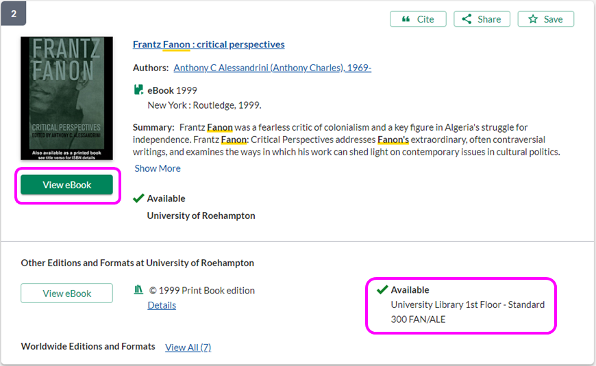 Screenshot showing both ebook access link and shelving location