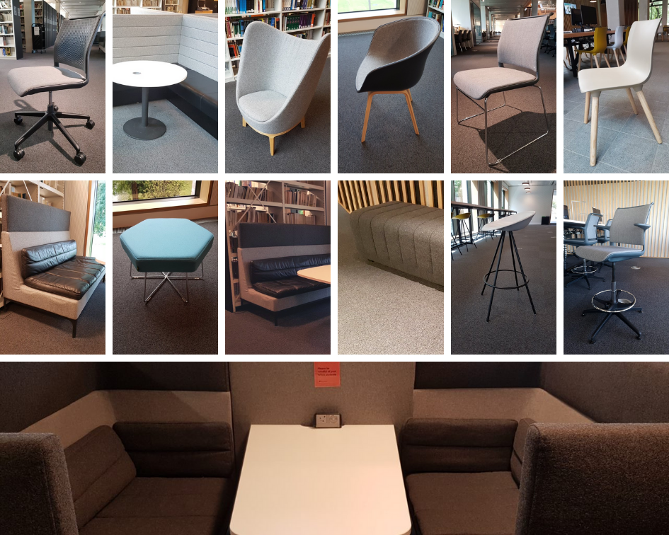 Various seats - benches, booths, chairs, stools in various locations around the library.