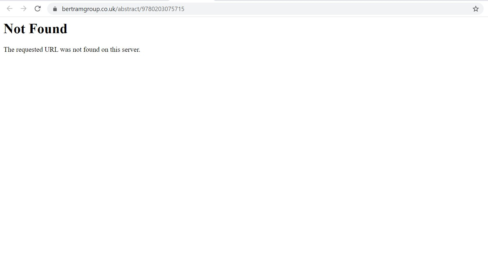 Screenshot reading: Not found. The requested URL was not found on this server.