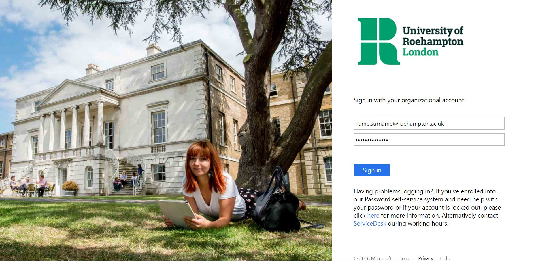 Log in with your Roehampton credentials