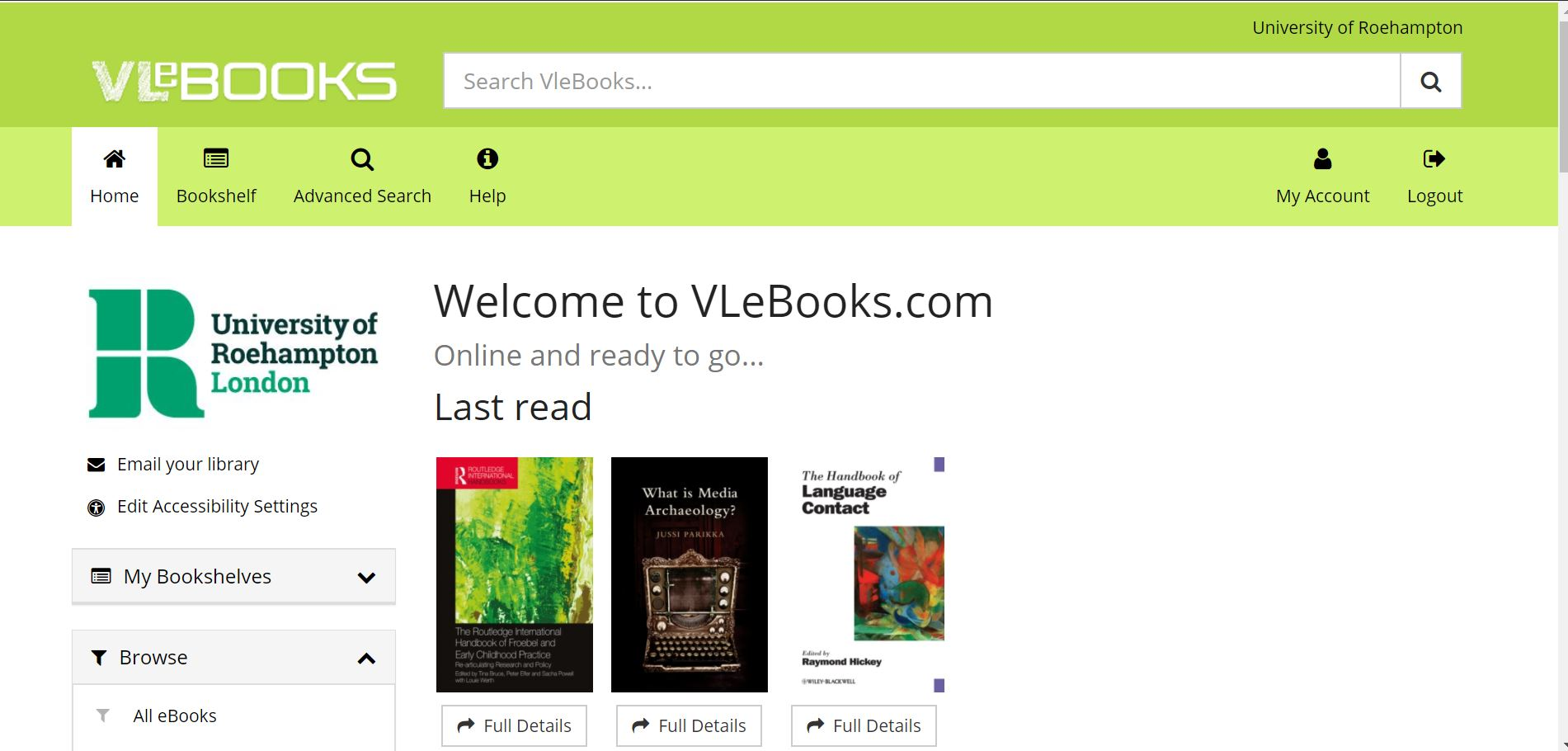 Use the title, author or ISBN to find and read your selected eBooks