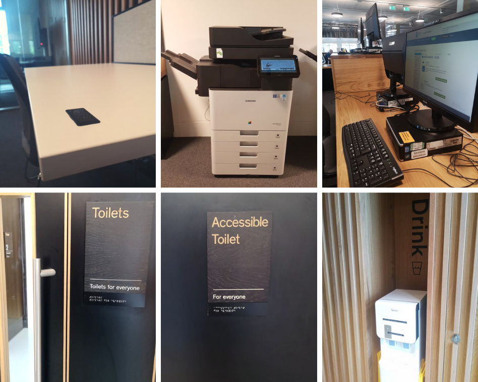 Braille signs, toilets for everyone, adjustable height desk, a water fountain and printers