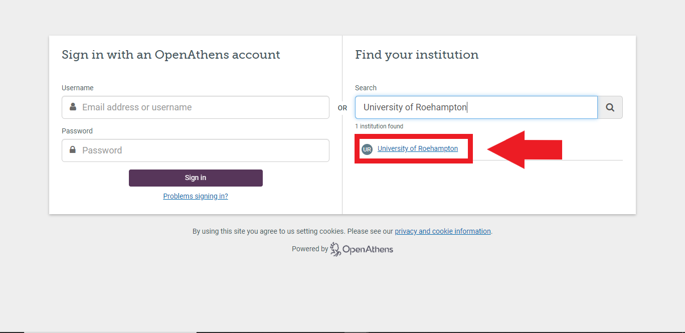 A University of Roehampton link should appear below the search box. Select this link.