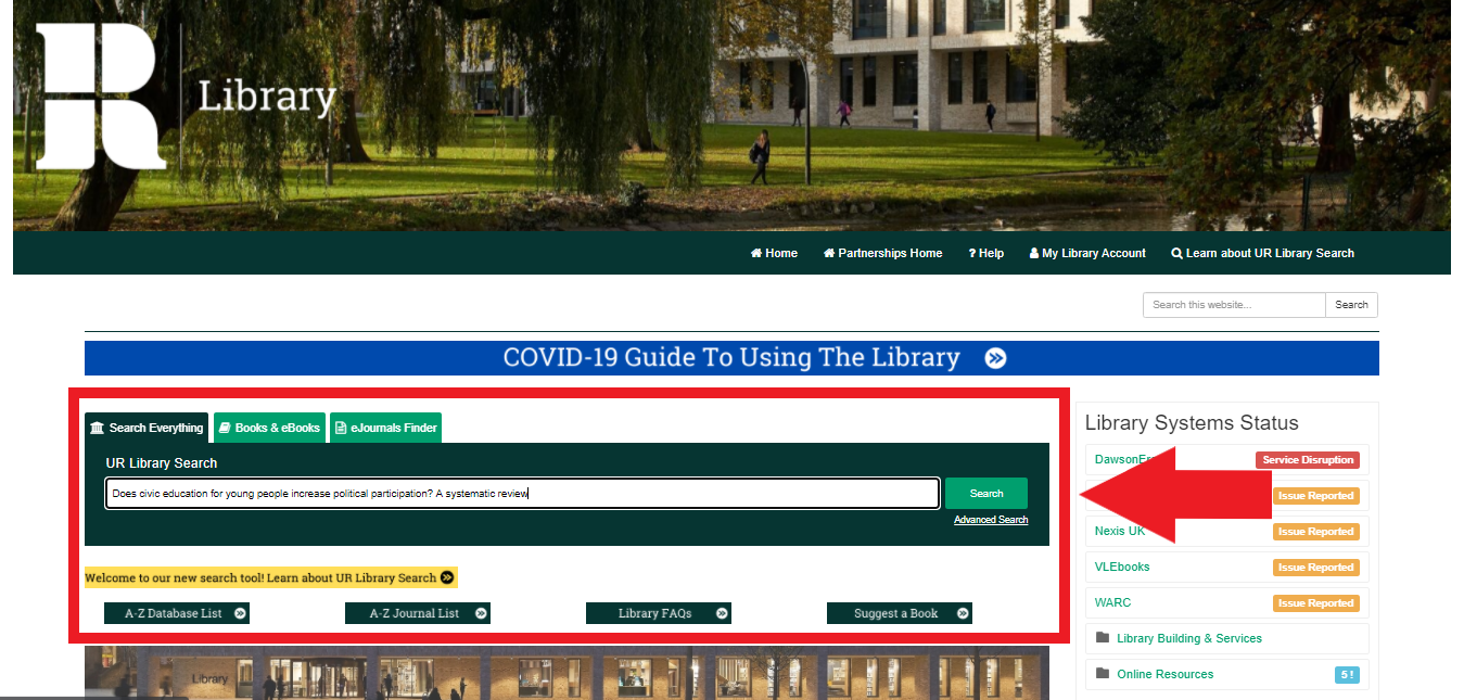 Search for your resource using UR Library Search.