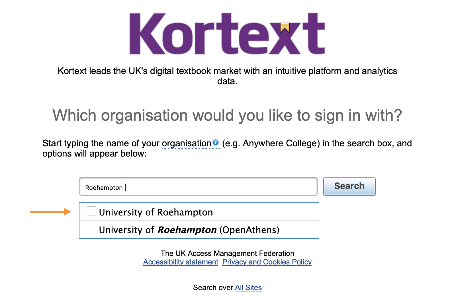 Select the first option. Do not use OpenAthens.