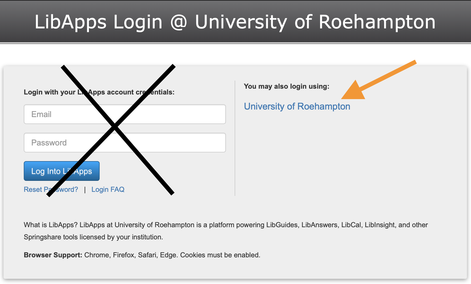Select the 'University of Roehampton' link to log in using your Roehampton details