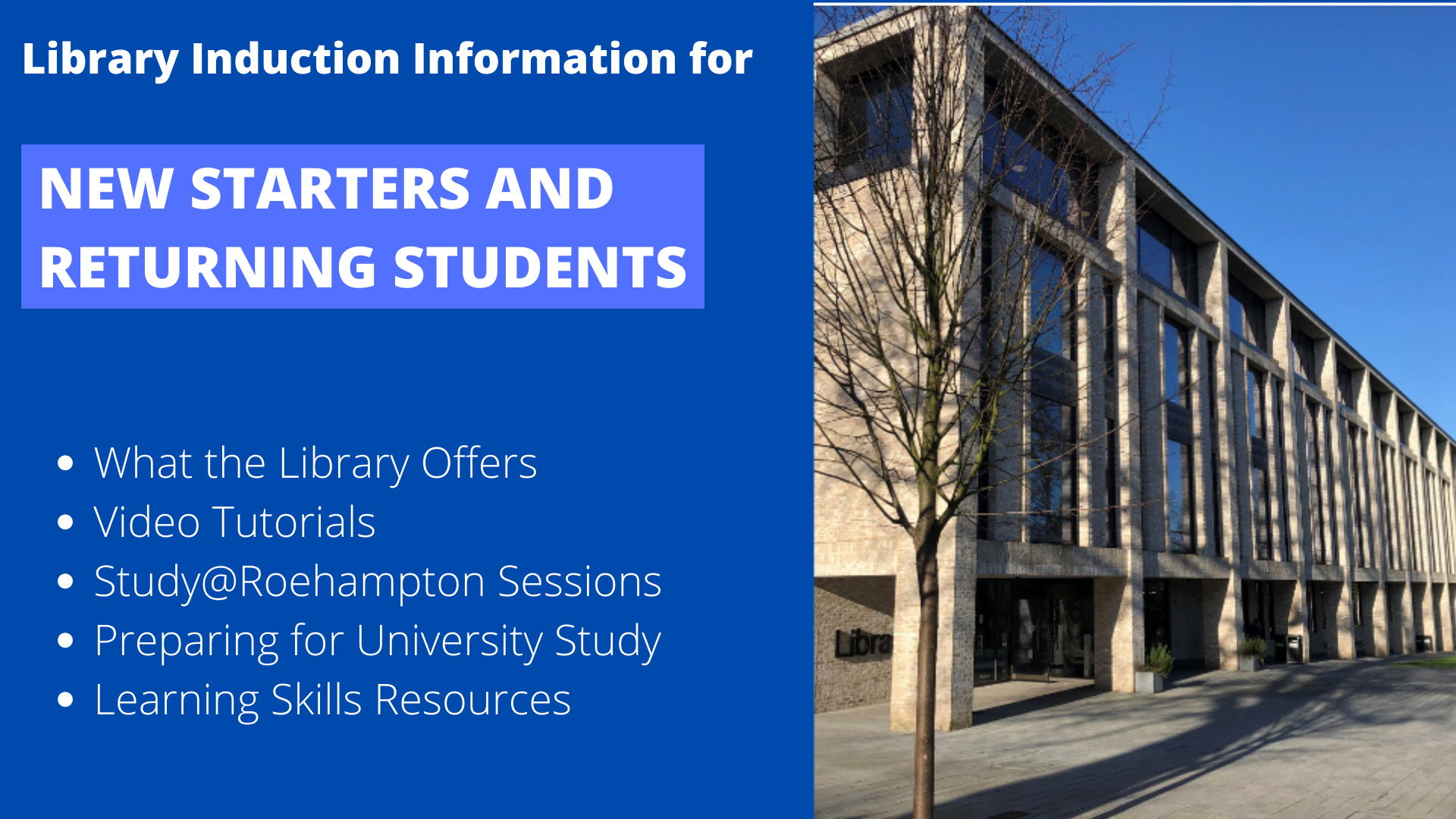 New Starters guide to using the library. All the information you need to know!
