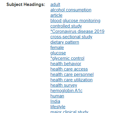 Examples of subject headings for an article