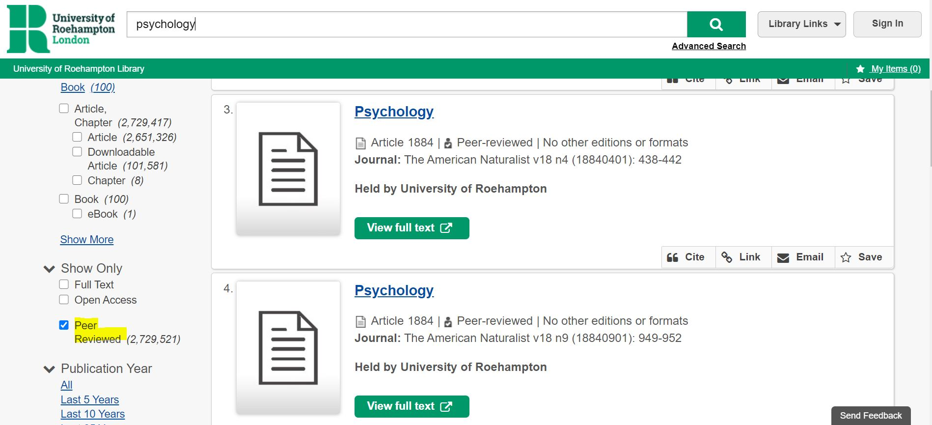 """Select """"peer reviewed"""" under """"Show only"""""""