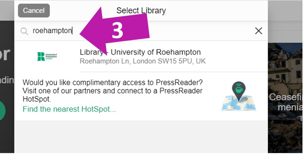 Search for 'Roehampton' and select it.