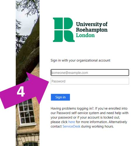 Enter your Roehampton email address and password