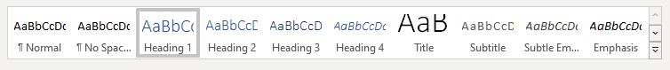 Word font styling bar.