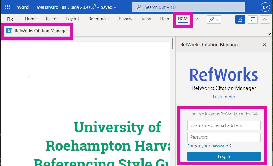 Log into RefWorks through the sidebar.