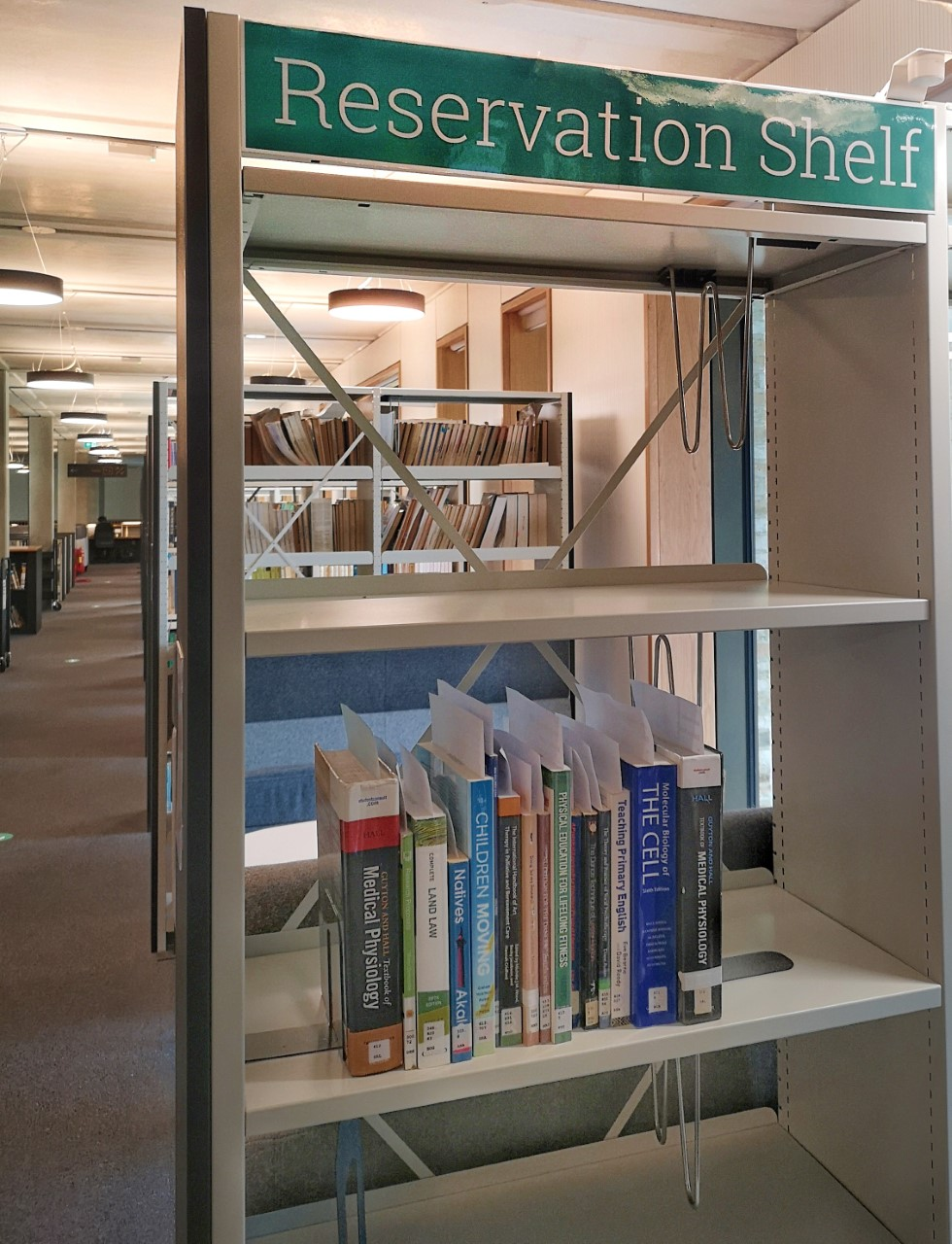 Reservation shelves in the Library located on the ground floor