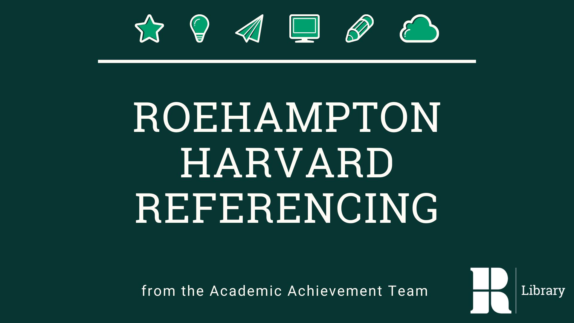Roehampton Harvard Referencing