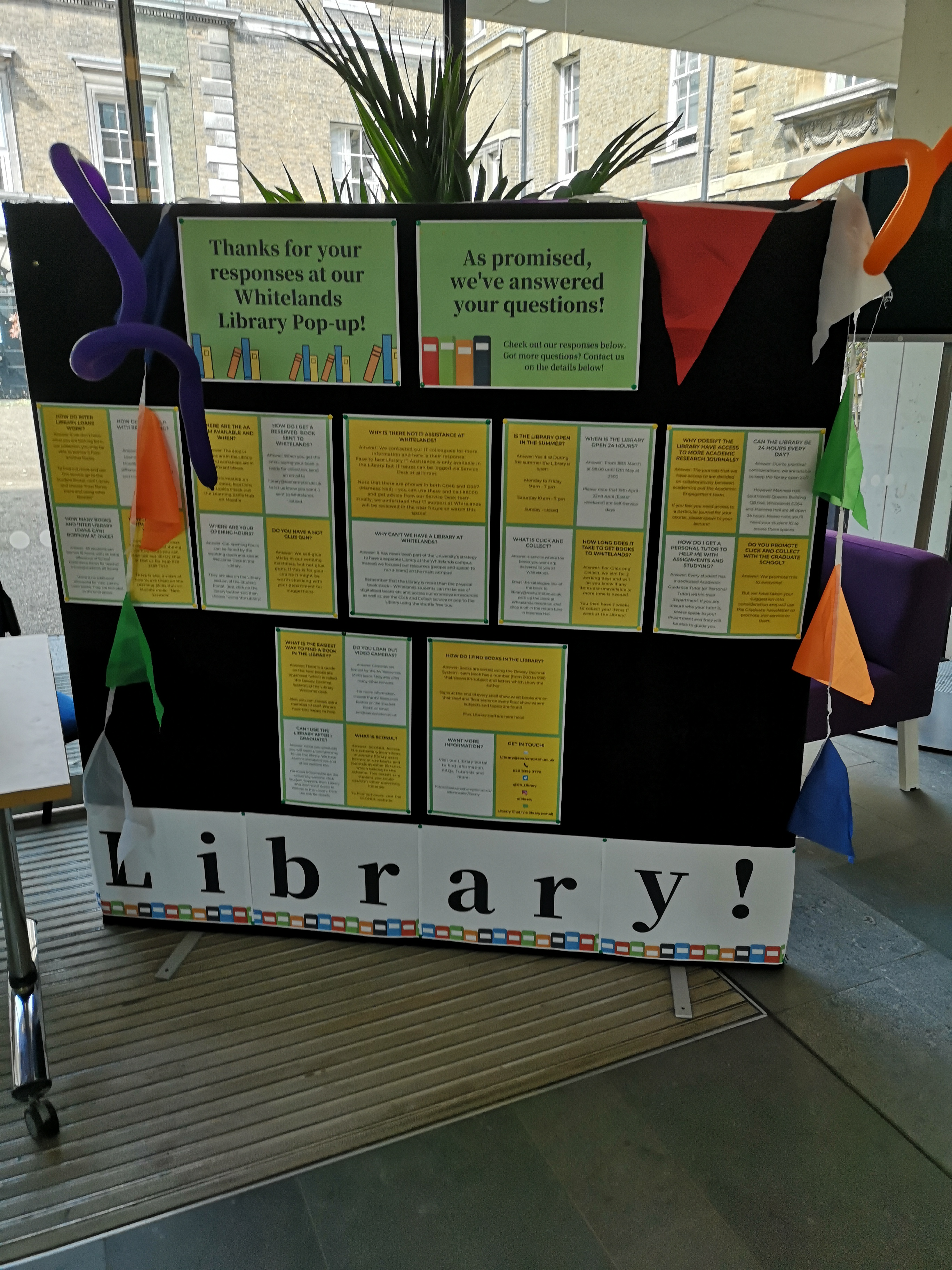 Library display at Whitelands after a pop-up event