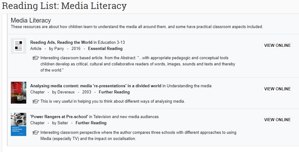 Image of a weekly reading list displayed in moodle.