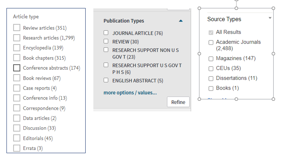 Examples of publication source type filters from Web of Science, Science Direct and Cinahl