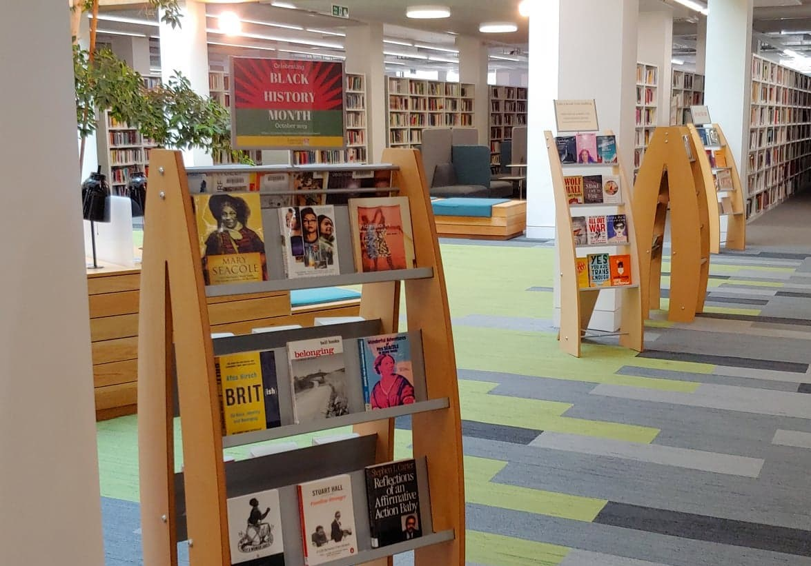 photo of the black history month display in the Library