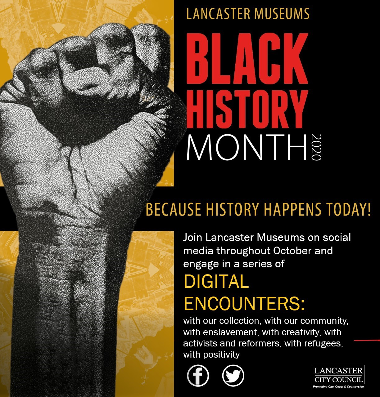 "Lancaster Museums are producing and sharing Daily Digital Encounters with ""our collection, with our communities, with enslavement, with creativity, with activists and reformers, with refugees, with positivity"" on social media throughout Black History Month."