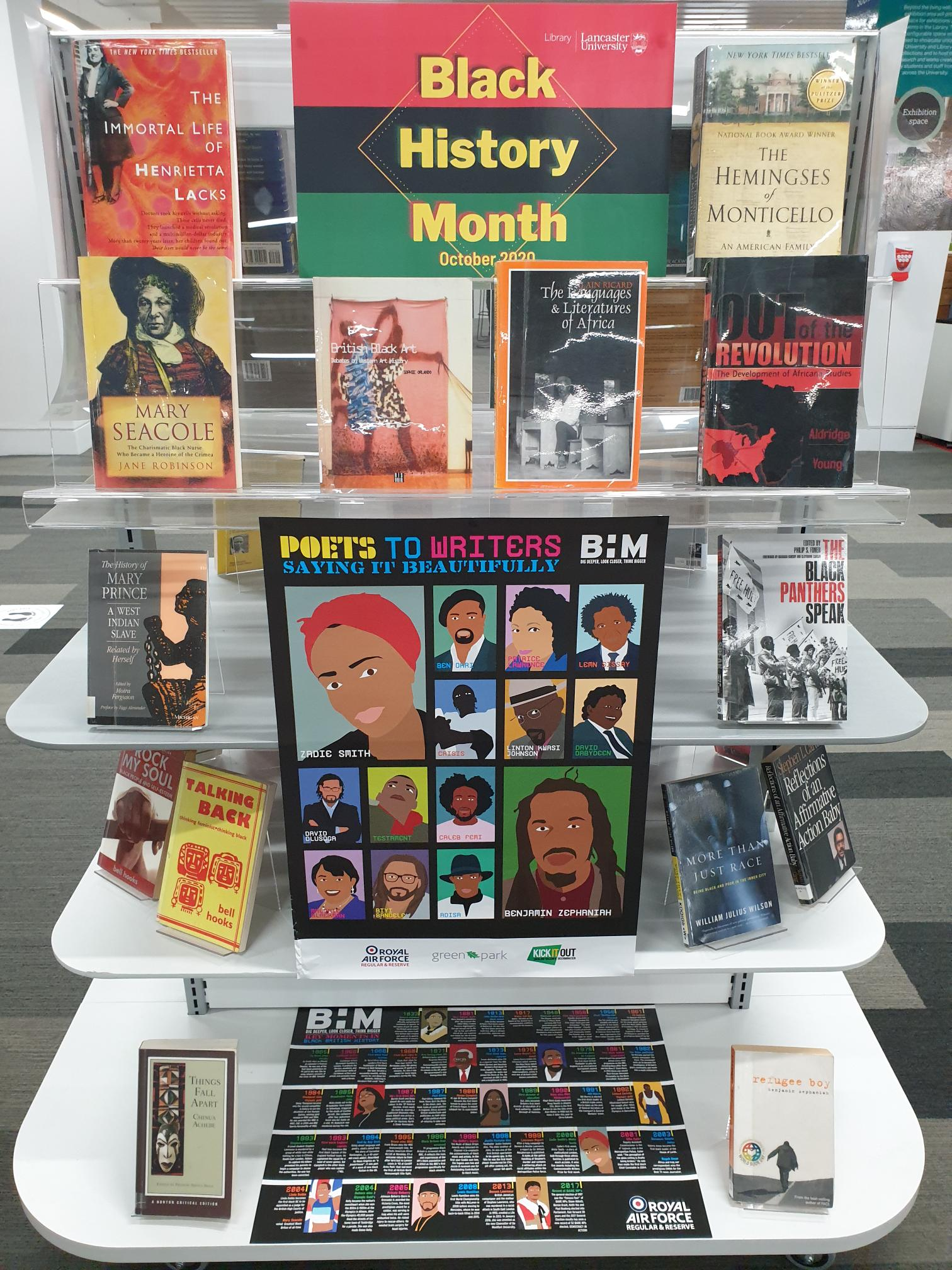 the black history month display in the library, showing a books from the reading list and a poster reading 'Poets to writerssaying it beautifully'