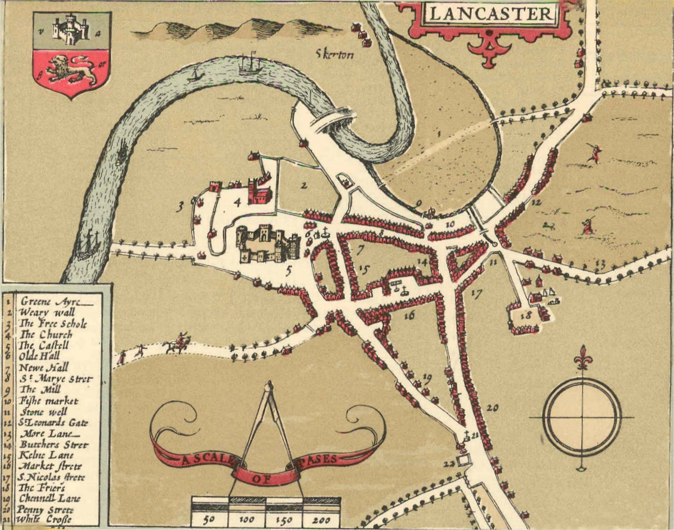 Map of Lancaster 1610 by John Speed