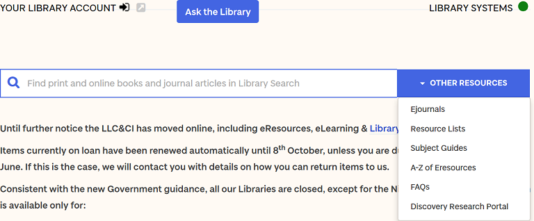 A screenshot of the library webpage. A drop down menu at the end of the search box from which you can select resource lists.
