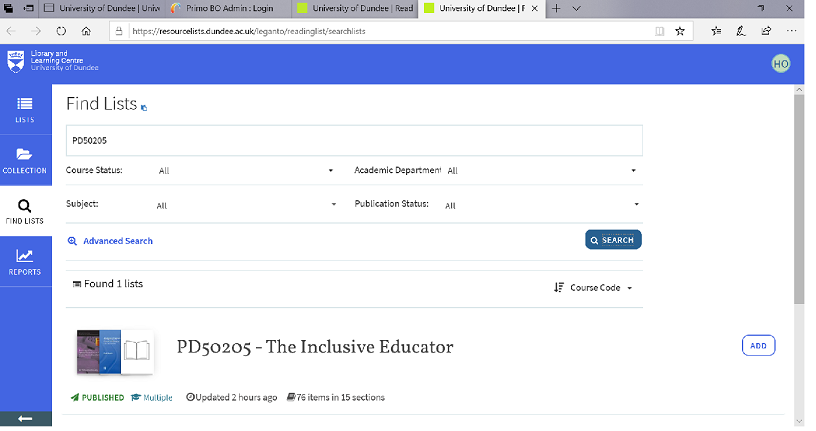 Find resource lists page, showing course status, subject, academic department and publication status all set to All.