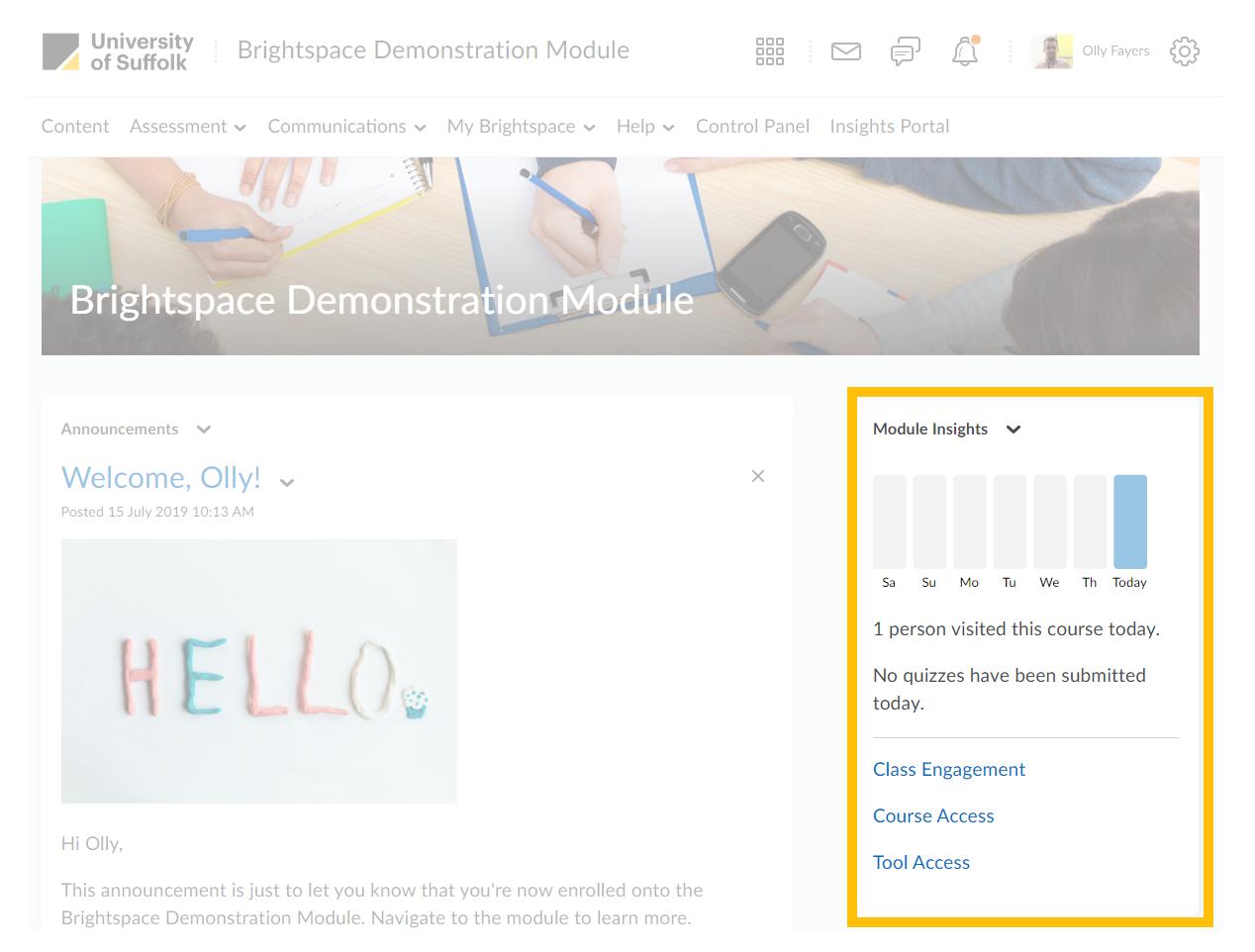 module insights widget