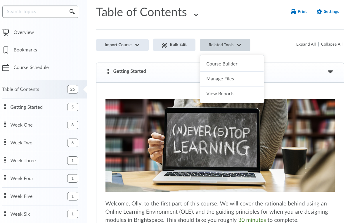 Accessing the reports in Table of Contents