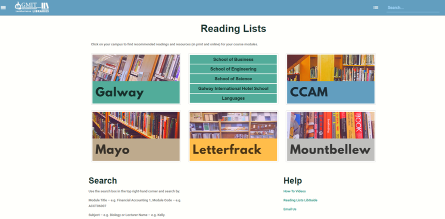 Reading Lists Landing Page