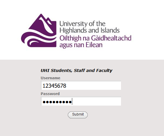 Library login page