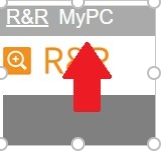 Screenshot from PC Booking software select arrow pointing to  MyPC