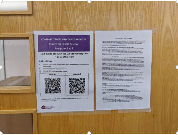 Image of Study room doors with QR codes