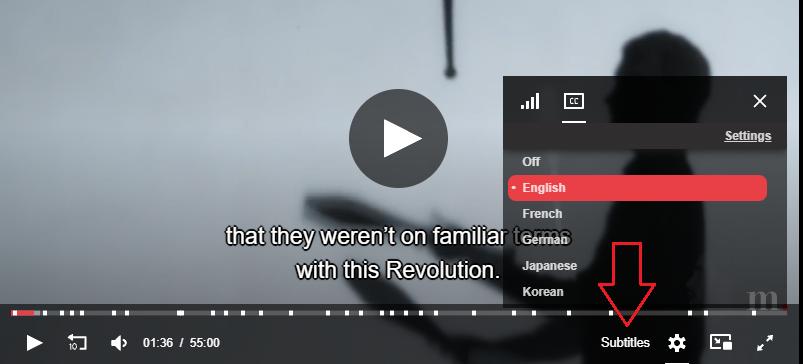Tekstityksen valinta videossa