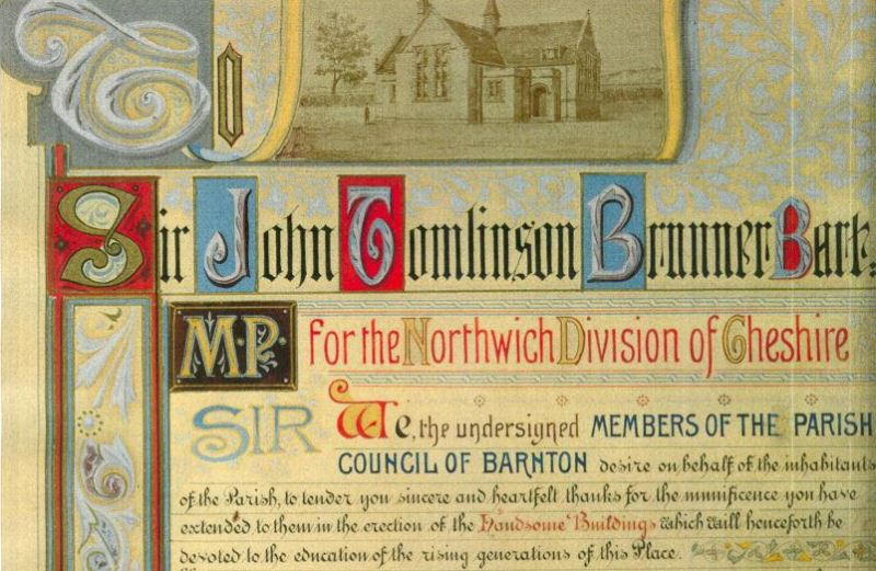 Text showing thanks given to Brunner by Northwich residents