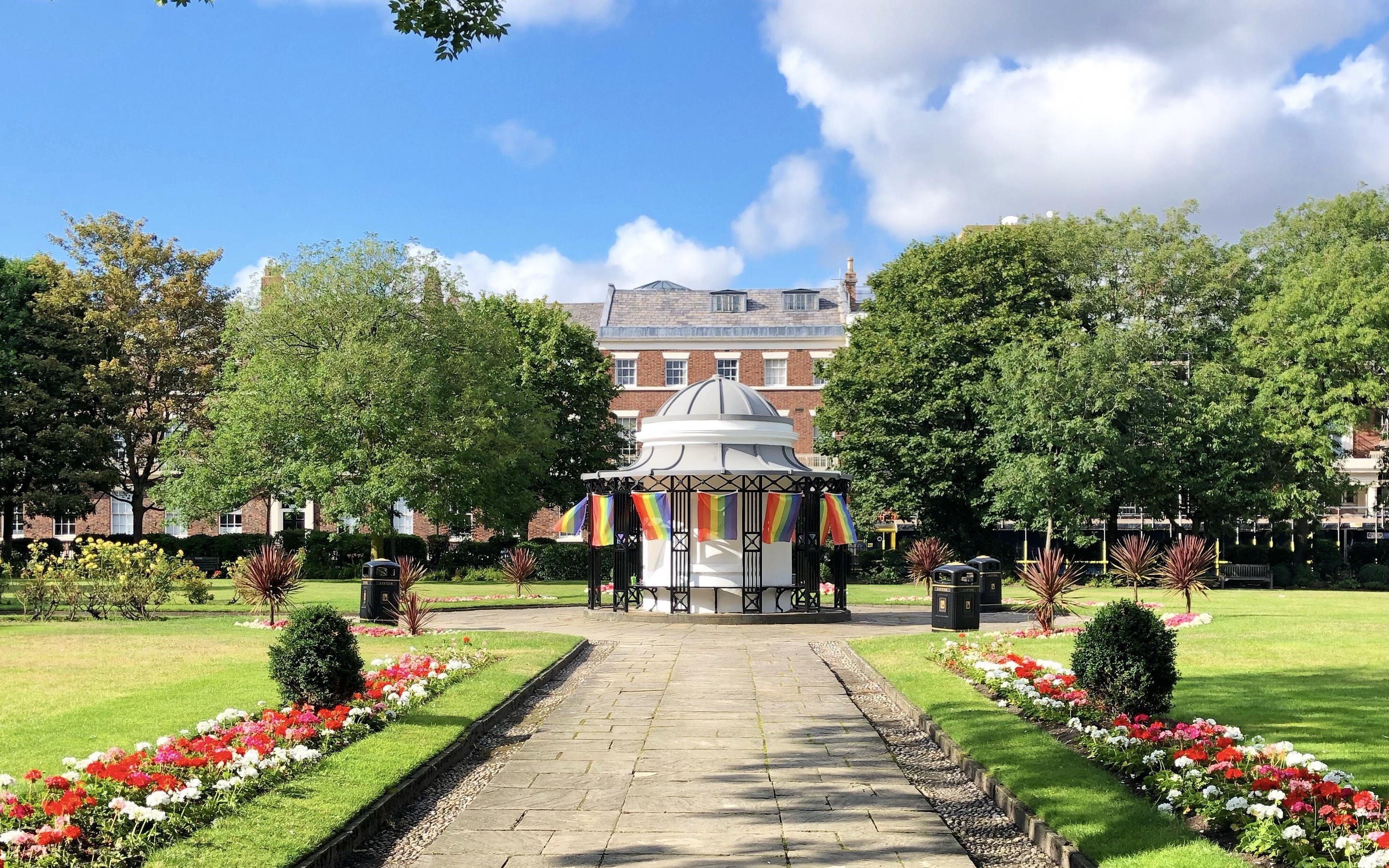 Rainbow Pride flags hanging in Abercromby Square