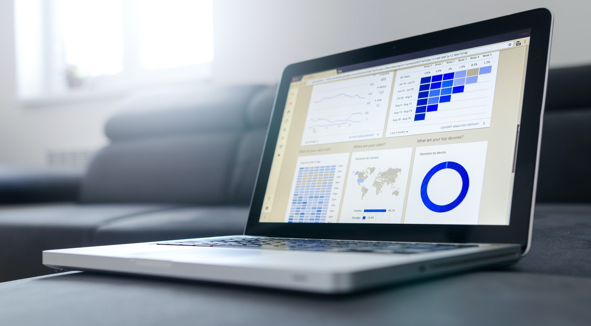 Image of a laptop on a desk with an image of a graph on the screen