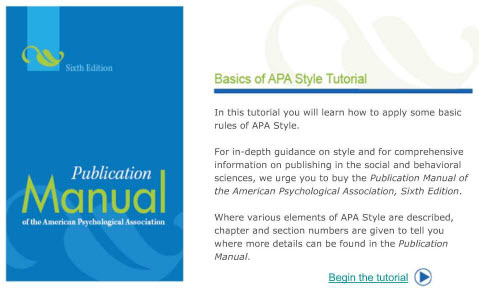APA tutorial - click for access
