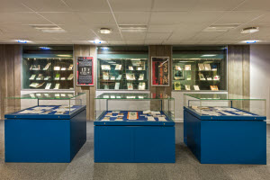SCA exhibitions area showing display cases