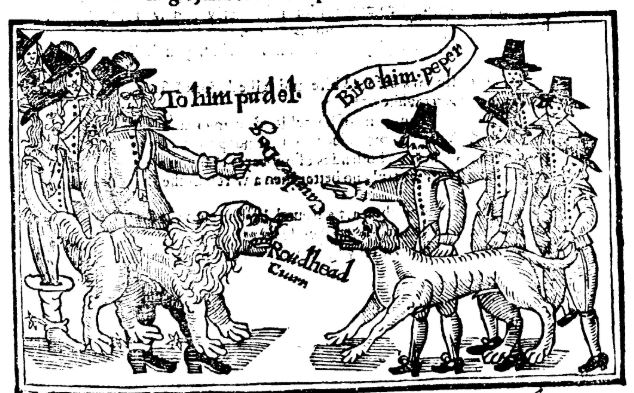 "Image of woodcut showing two dogs: Puddle, Prince Rupert's dog and Pepper, a puritan named Toby's dog. Pepper is calling Poodle a ""cavalier dog"" and Poodle replies by calling Pepper a ""roundhead cur."""
