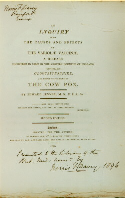 Title page of Edward Jenner. An inquiry into the causes and effects of the variolae vaccinae