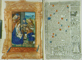 Illustration page and text from book of hours