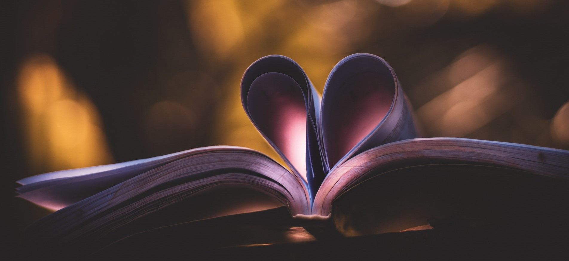 Open book with pages folded in the shape of a love heart