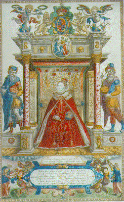 Illustration of Queen Elizabeth I from Christopher Saxton. [A series of 35 maps of England and Wales.