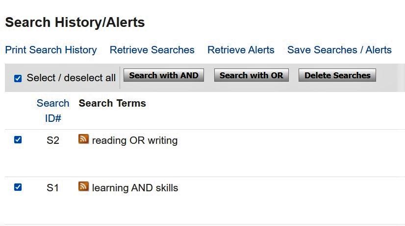 Bild som visar hur man i en databas kan kombinera sina tidigare sökningar.