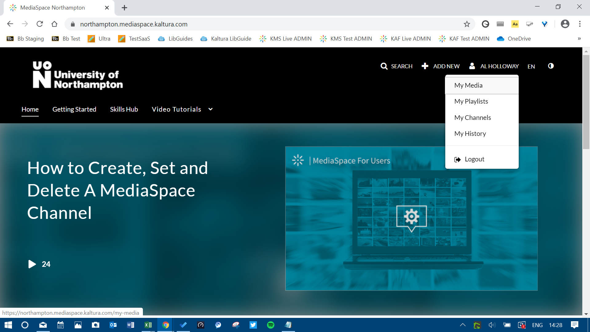 A screenshot of the MediaSpace landing page.