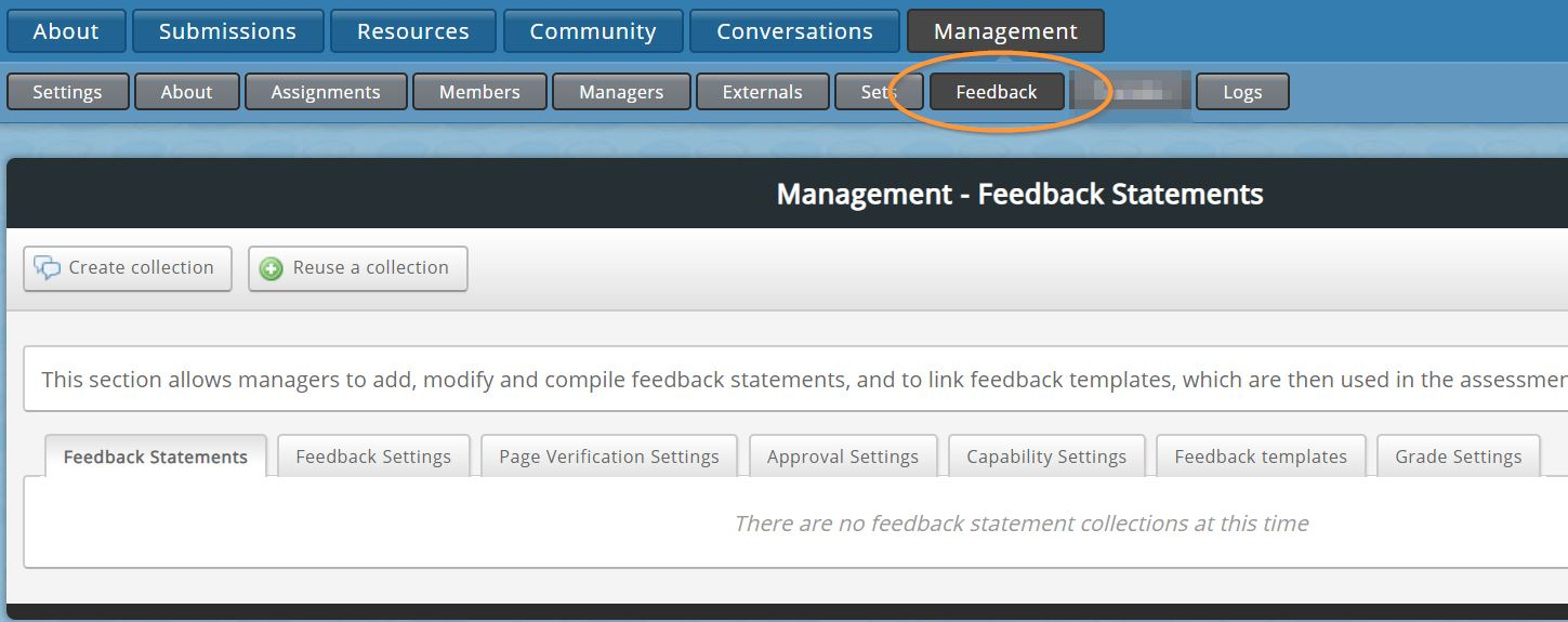 Management is on the top row of buttons and feedback is on the second row of buttons.
