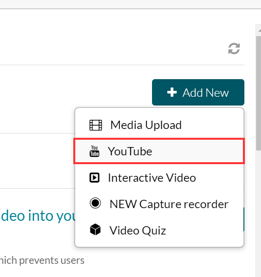 Select YouTube from the Add New menu.