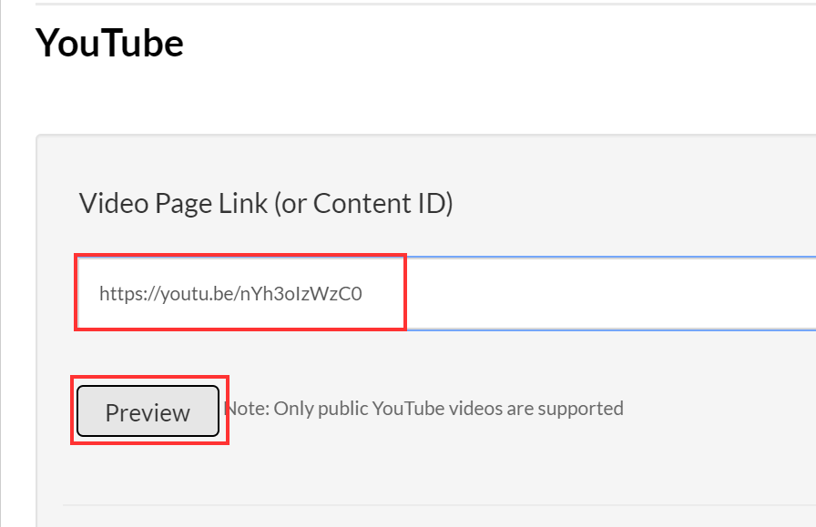 Enter the YouTube video link and click Preview